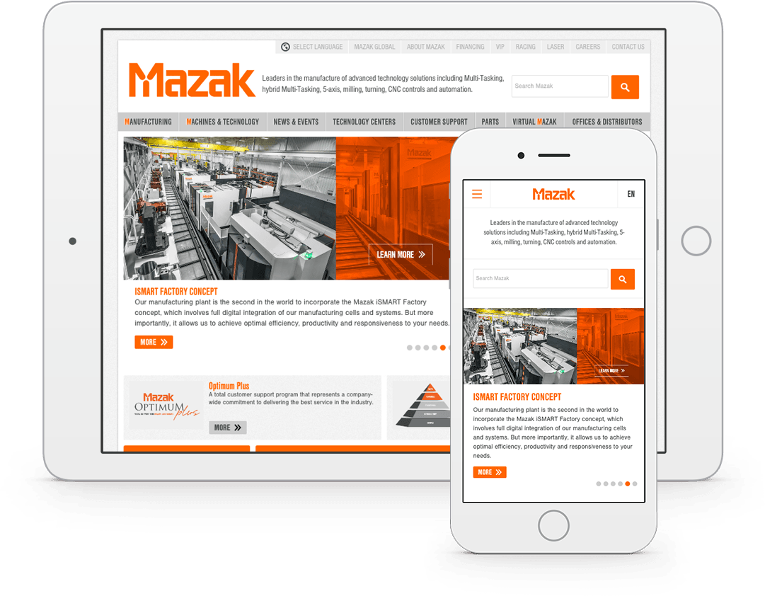 Mazak responsive website