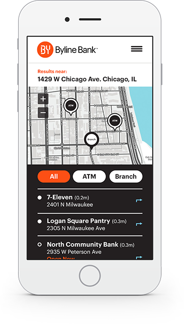 Moblie screen of Bank location map