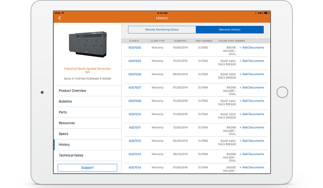 Warranty and service records accessible in the field