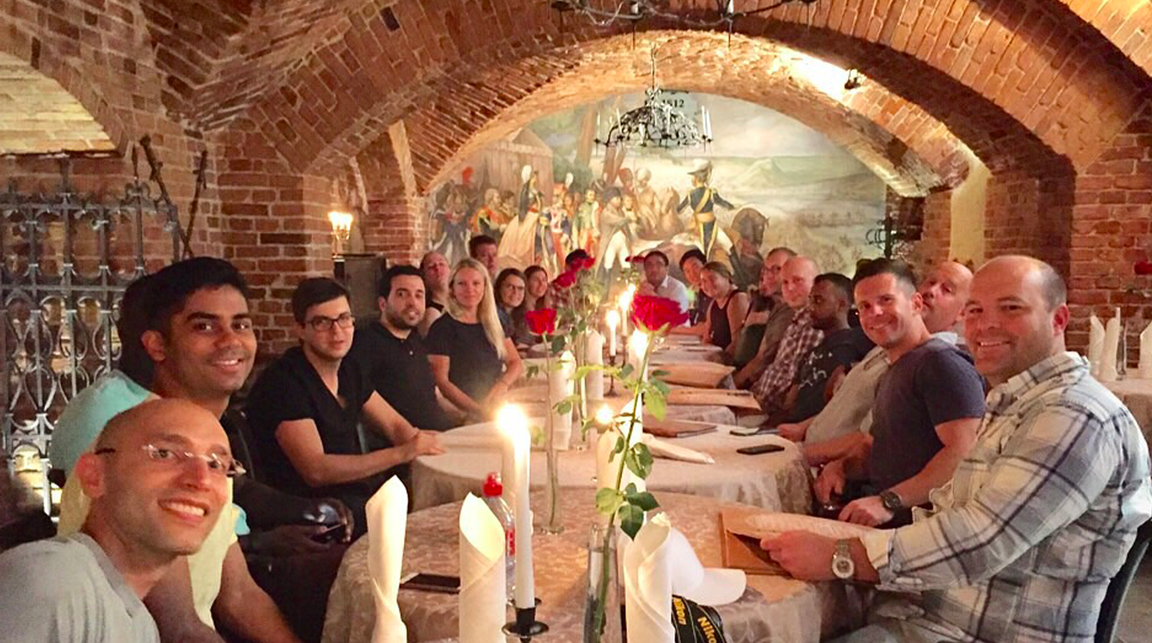 A team dinner in Kaunas, Lithuania