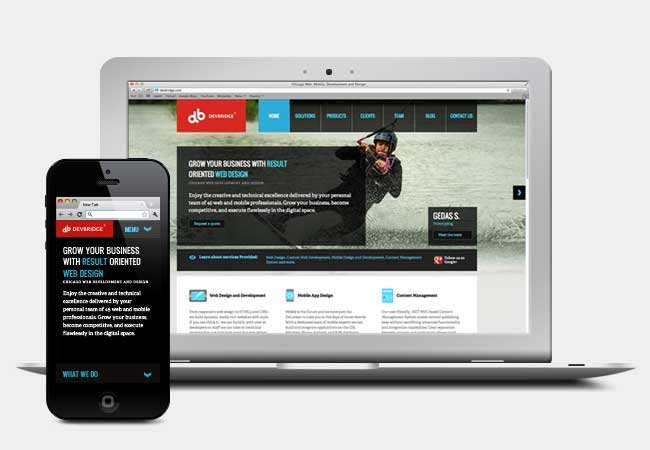 Debridge.com Responsive Website on iPhone and laptop