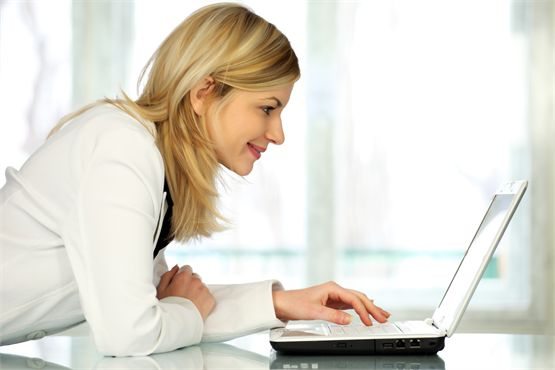 Woman at laptop - for Find an RD tab on homepage